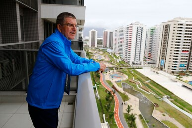 IOC President Thomas Bach at the Olympic Village of the Olympic Games Rio 2016