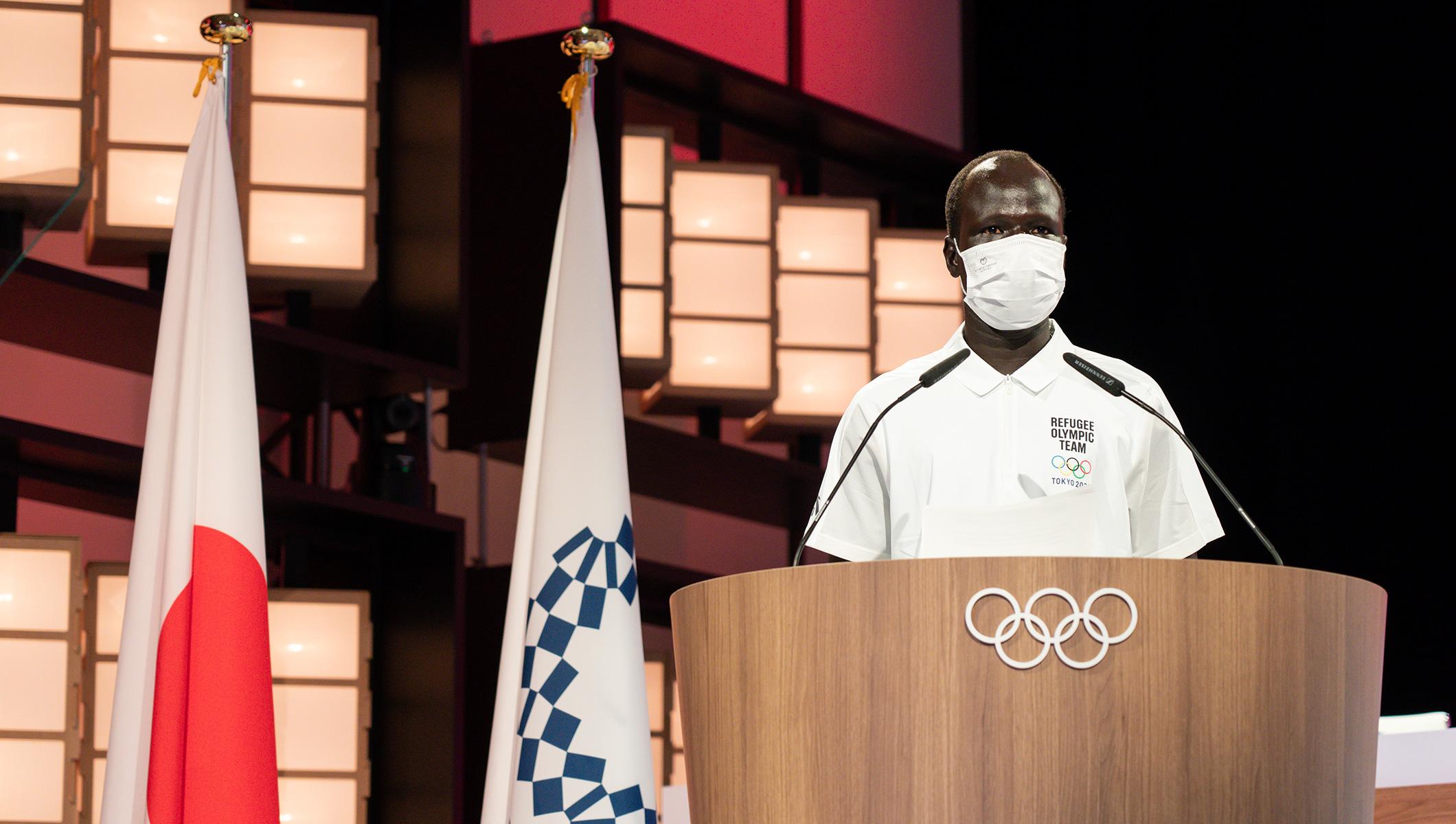 Yiech Pur Biel, représentant des athlètes de l'équipe olympique des réfugiés du CIO Tokyo 2020
