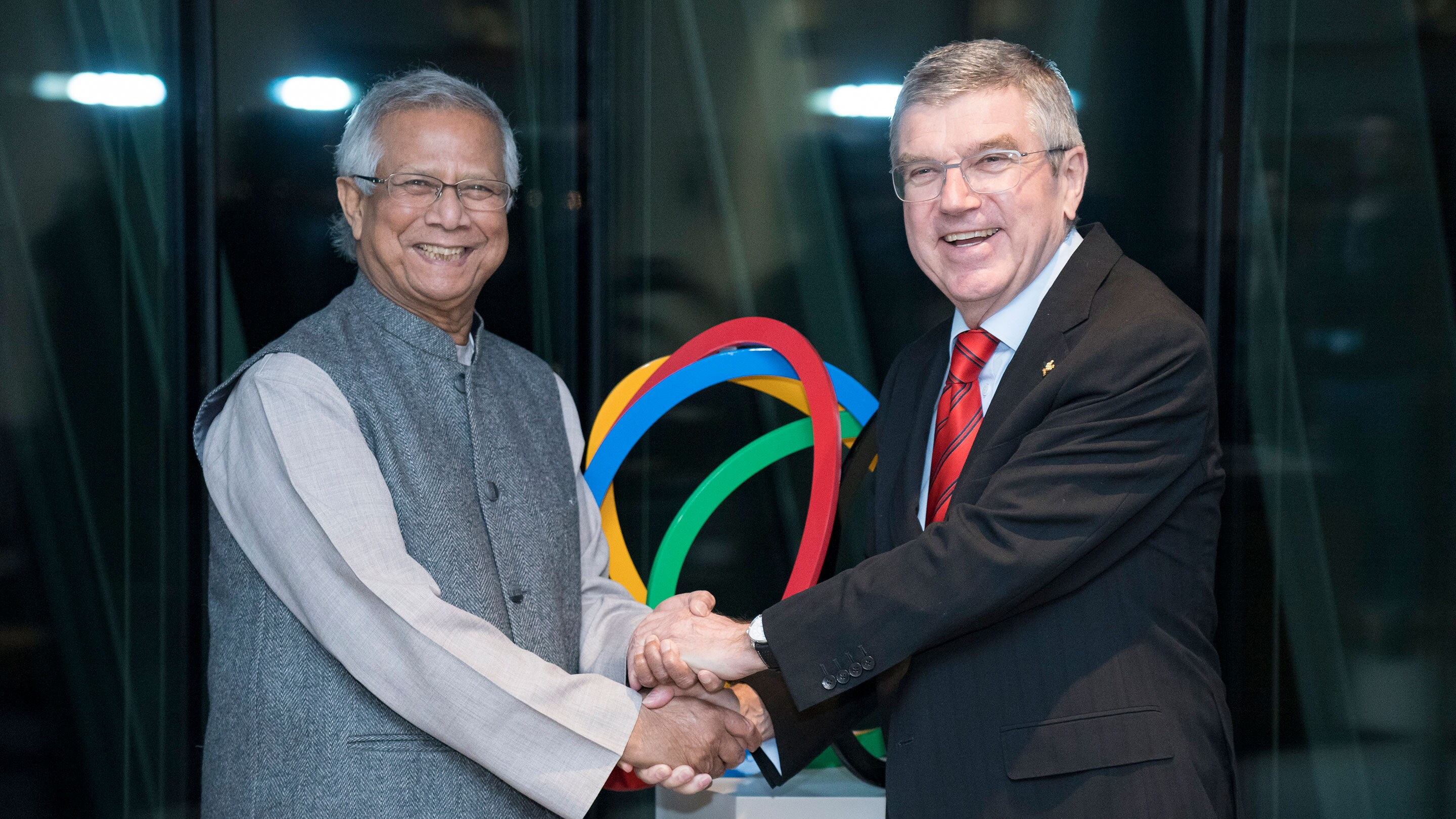 IOC President Thomas Bach during a meeting with Professor Muhammad Yunus at Olympic House in Lausanne in 2020.