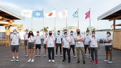 Members of the Olympic Refugee Team at the Olympic Village in Tokyo