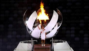 lighting of Olympic cauldron Tokyo 2020