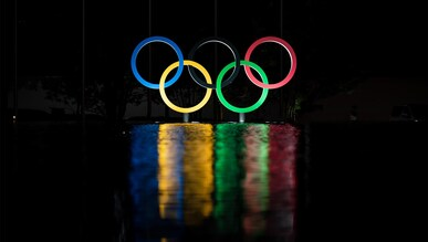 TOKYO - JAPAN -  25 July 2021: Olympic Rings outside the Okura Hotel during TOKYO 2020, the XXXII IOC Olympic Games.