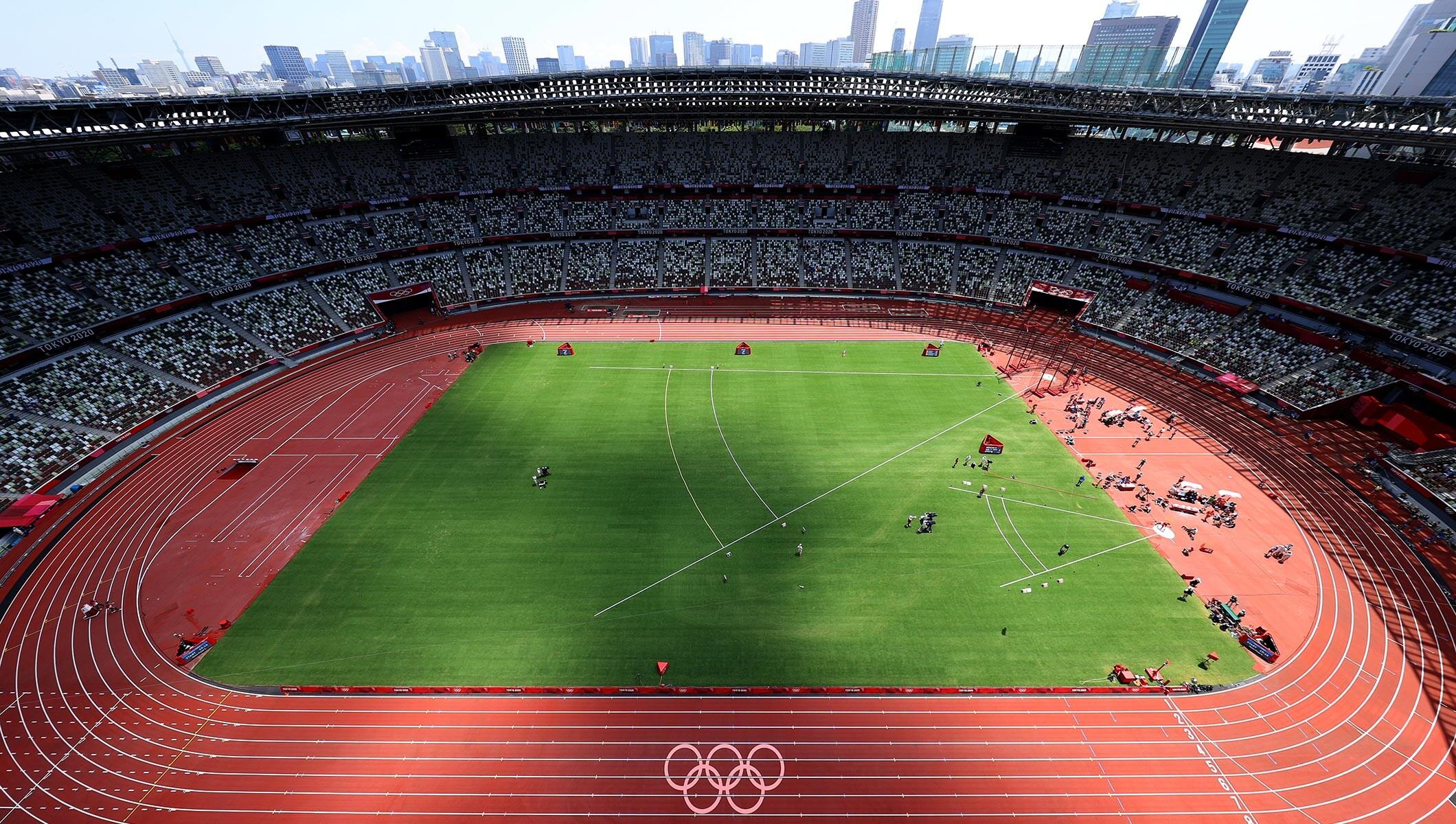 Tokyo Olympic Stadium 2020 aerial shot