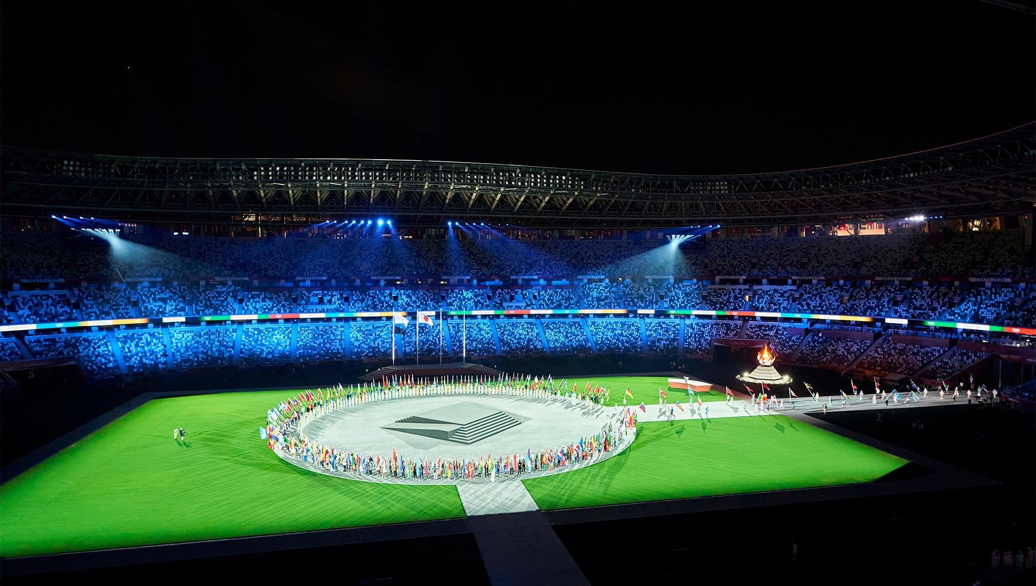 剛結束的2020東京奧運會空無觀眾的閉幕典禮。(取自國際奧會網站)