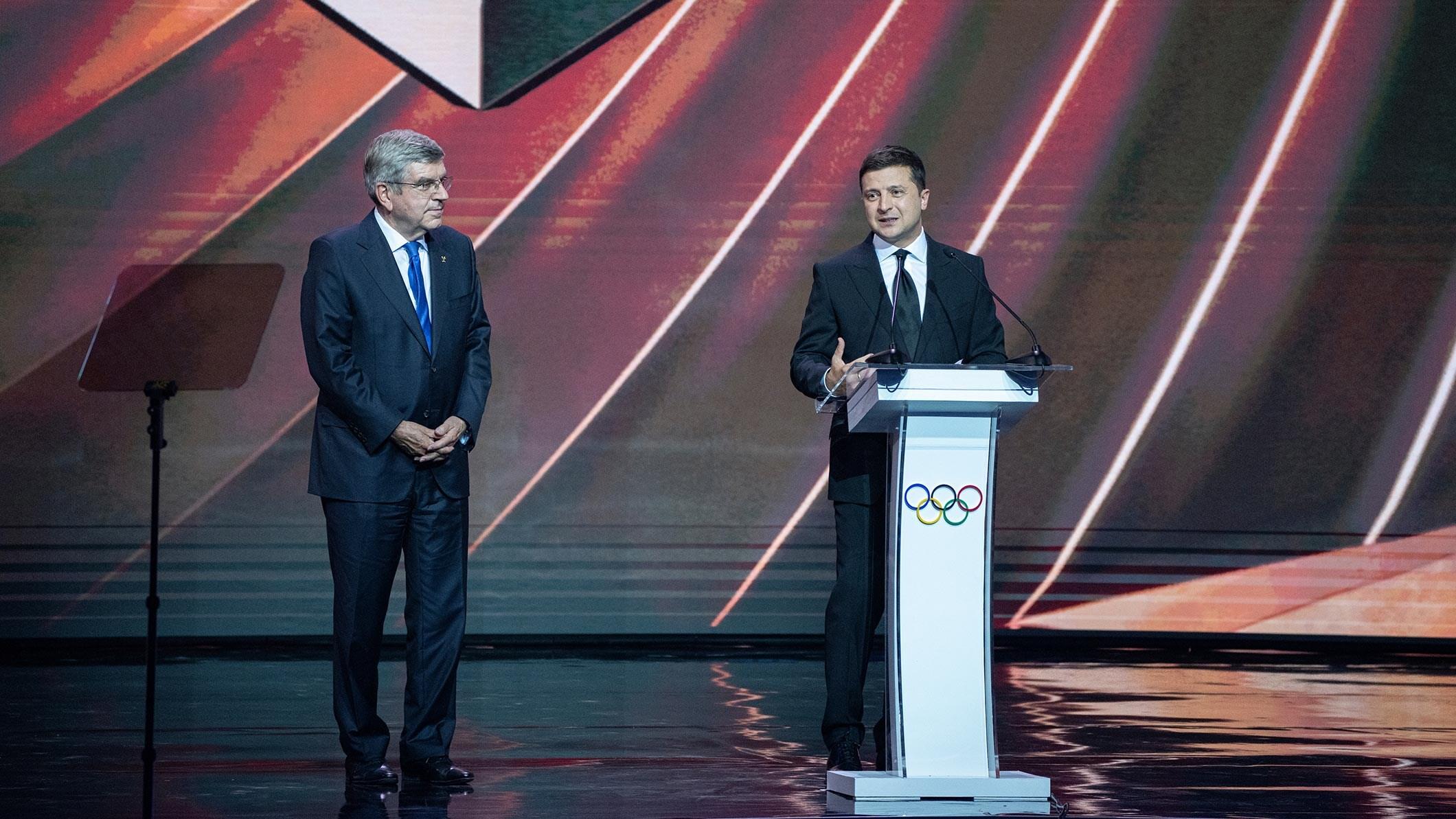 IOC President Thomas Bach and Ukrainian President Volodymyr Zelensky