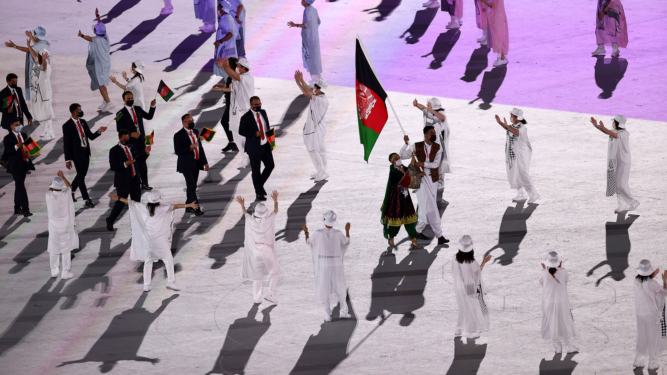 Team Afghanistan enters during the Opening Ceremony of the Tokyo 2020 Olympic Games at Olympic Stadium on July 23, 2021 in Tokyo, Japan.