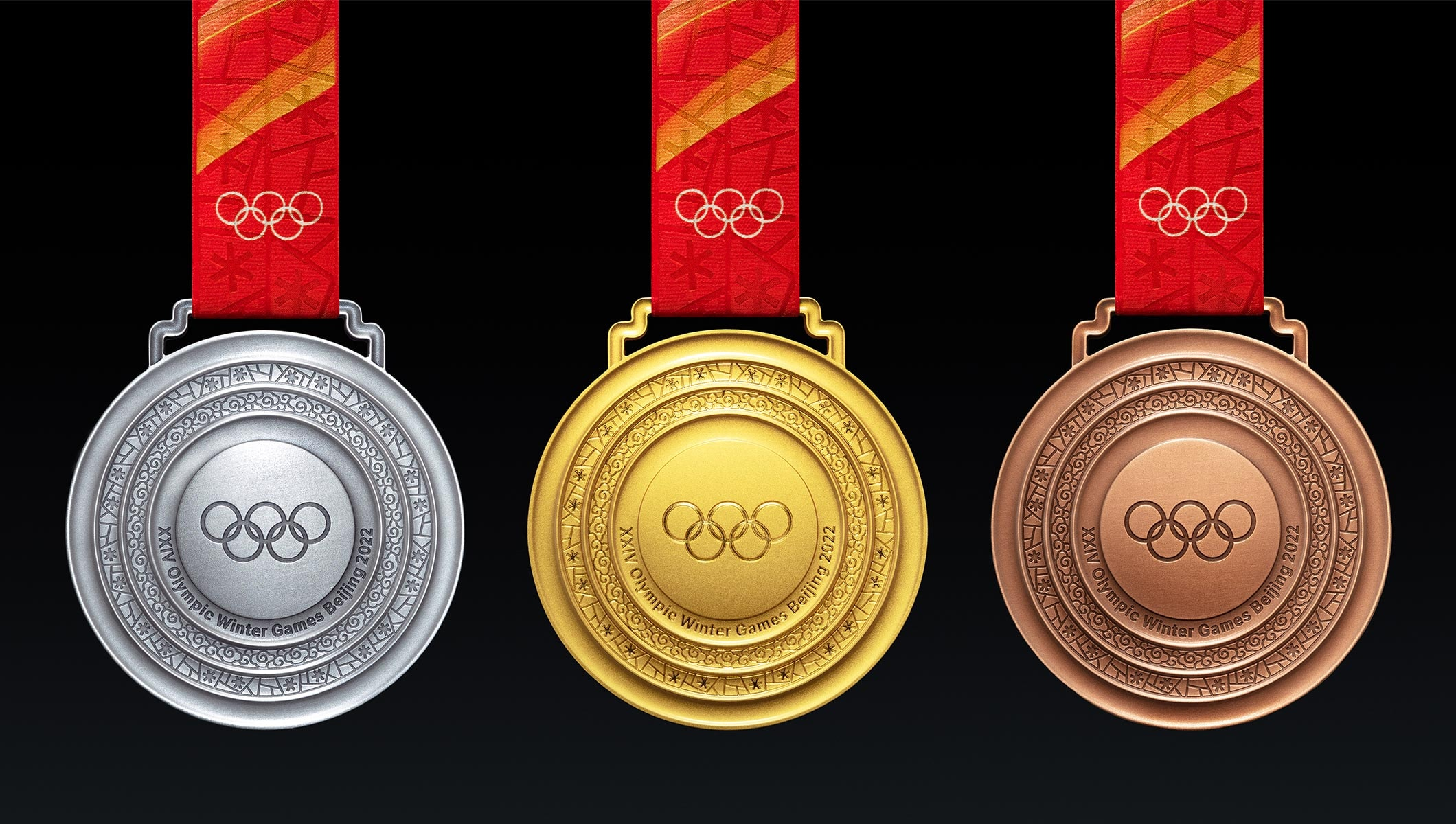 The front designs of the Olympic Winter Games Beijing 2022 medals