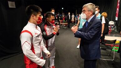 TOKYO - JAPAN -  25 July 2021: IOC President Thomas Bach visits the weightlifting at the Tokyo International Forum during TOKYO 2020