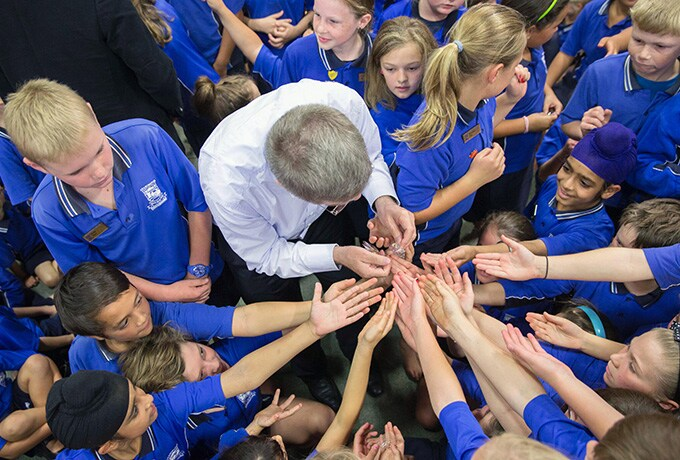 Activities of IOC President, Thomas BACH, Visit of Leamington Primary, New Zealand, 2015