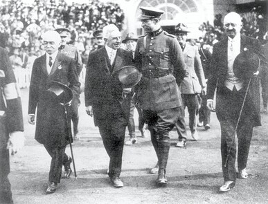 Antwerp 1920 OG, Opening Ceremony - Pierre de COUBERTIN, IOC President, Alfred Verdyck, Albert I, king of Belgium and Henri de BAILLET-LATOUR, IOC Member (BEL) enter the Olympic Stadium.
