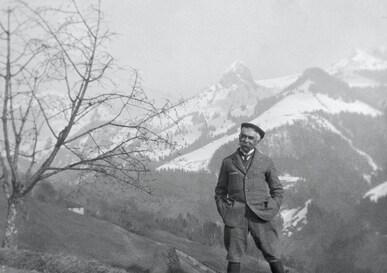 Baron Pierre de COUBERTIN in the Alps.