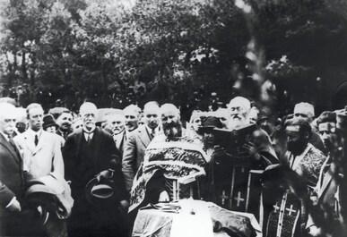 Baron Pierre de COUBERTIN attending a mass in Olympia, Greece.