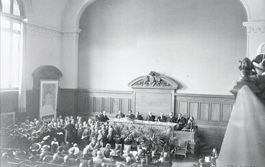 5th Olympic Congress, Lausanne 1913 - Opening Ceremony of the Sports Psychological and physiological Congress, presided by Baron Pierre de Coubertin, IOC President, in the Palace of Rumine.