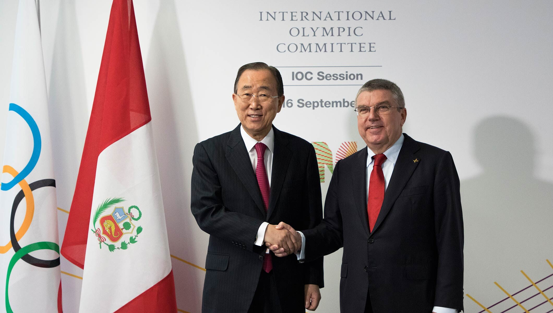 Newly-elected Chair of the IOC Ethics Commission Ban Ki-moon and IOC President Thomas Bach