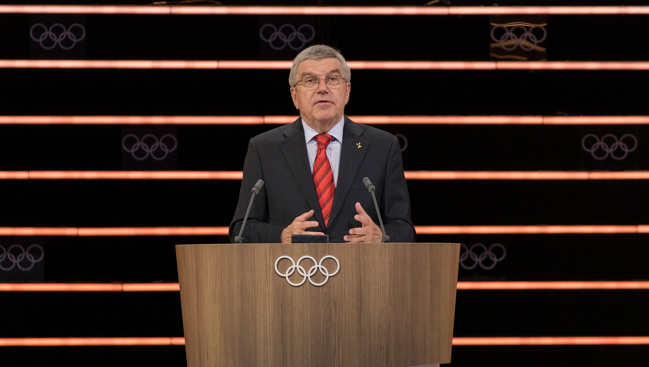 IOC President Thomas Bach at the 134th IOC Session in Lausanne